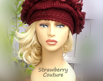 Womens Hat 1920s,  1920s Cloche Hat,  Crochet Hat,  Linda Aubergine Cloche Hat,  Unusual Gifts,  Unique Gift for Women