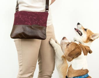 Waxed Canvas and Leather Crossbody Bag Berry/ Handmade Leather and Canvas Purse / Foldover Bag with Strap