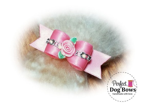 Sweetheart Dog Bow, Pink Puppy Bow, Bling Pet Hair Bow, Fancy Dog Bows