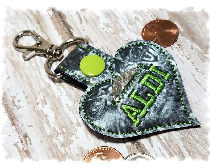 Quarter Keeper, Heart Coin Holder, Heart Key Fob, Heart Quarter Holder, Coin Keeper, Heart Key Chain