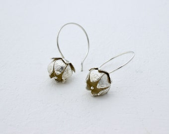 Silver Strawberry Flower Earrings