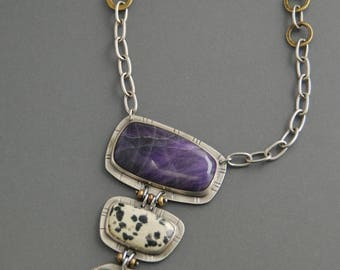 Totem Necklace with Purple Sugilite, Dalmatian stone, chrysocolla, sterling silver, brass, mixed metal, large pendant, artisan jewelry