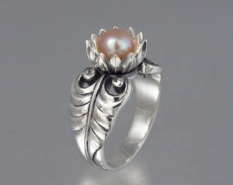 PINK LOTUS silver ring with freshwater pearl
