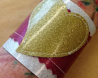 Sale!!! Cute pink, white and gold sparkle vinyl heart cuff.