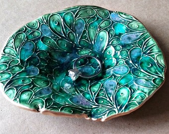 Ceramic Trinket Dish Peacock Green edged in gold smooth edges