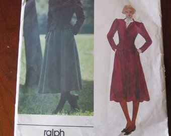 Vintage 80s Vogue 2615 American Designer Ralph Lauren Misses Jacket and Skirt Sewing Pattern size 8 B31.5