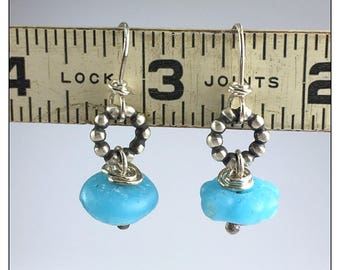 Sky Blue Recycled Glass and Sterling Silver Earrings