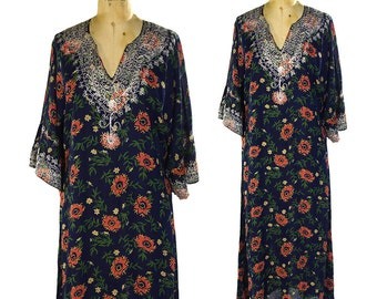 Embroidered Indian Boho Caftan / Vintage Maxi Length Bohemian Ethnic Hippie Floral Dress / Lightweight Slightly Sheer Kaftan Festival Duster