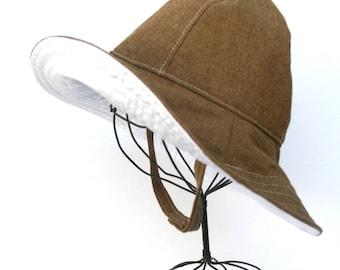 Child Floppy Sun Hat Handmade in Brown Cotton