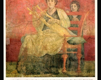 Lady Musician, Girl Art Print Musical Instrument Kithara Lyre Roman Fresco Villa of Boscoreale 1966 Art Book Print Home Living Wall Decor