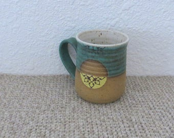 Mug Cup - Handmade Stoneware Pottery Ceramic - Copper Patina, Yellow, and White - 14 ounce
