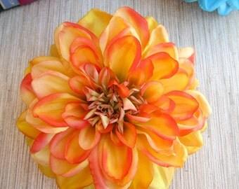Orange Dahlia Hair Clip, Dahlia Hair Clip, Orange Flower Hair Clip, Pinup Hair Accessorie