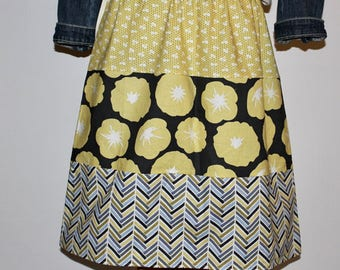 NEW Womens Strip A-line Skirt  Mom and daughter coordinating skirts In Gray Skies