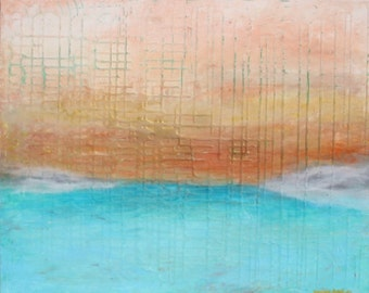 Morning View 20x30 abstract surrealist landscape Maxine Orange
