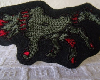 Zombie Hand Embroidered Iron On Patch, Patches, Embroidered Applique, Black Green Red, Monsters Hand, Monster Horror, Halloween Patch, Dead