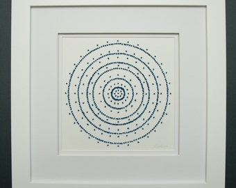 French Knot Embroidery in Paper, Handmade Artwork