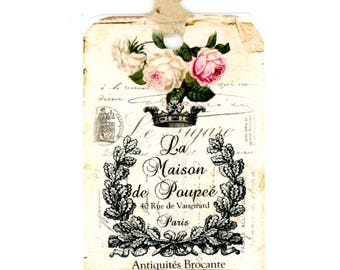 French Country Gift Tags , French Farmhouse Tags , Rustic French , Vintage Style , Crown Tags , French Tags , Bluebird Lane Tags