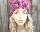 Mixed Pink Cat Hat - Womens Winter Knit Beanie in Wild Strawberry