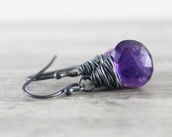 Purple Amethyst Earrings, Dark Purple Earrings, February Birthstone Jewelry, Amethyst Gemstone Earrings, Black Oxidized Sterling Silver