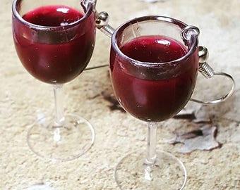 Red Wine Glass Earrings