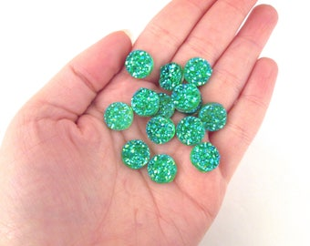10 Iridescent Green 12mm Resin Druzy Cabochons, E172