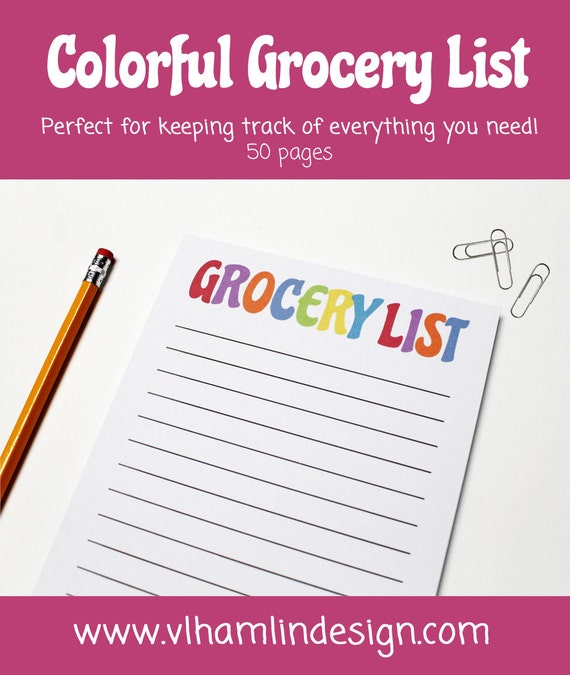 Colorful grocery list notepad from VLHamlinDesign