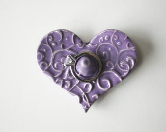 Heart Shape Ring Holder, Ring Dish, Ring Bowl, light purple, Ready to ship