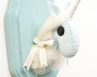 Taxidermy Unicorn- light blue