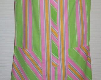 NOS Pink Lime Orange Gray Stripe Shift Dress 1960s era Pockets Metal Zipper Original tags