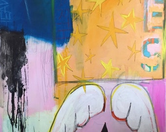 """Ode To Bowie 40"""" x 30"""" original painting on canvas inspired by Basquiat style graffiti art"""