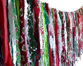 FREE SHIPPING christmas holiday festival fabric strip bunting, XL winter celebration eco-friendly garland, rag tie scrappy banner, 74 inches