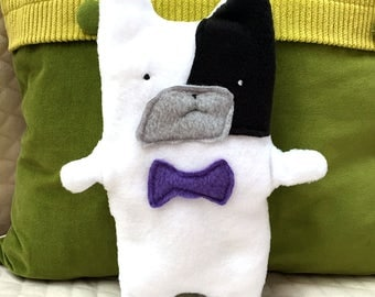 Marty ~ The Pied French Bulldog Bow Tie Bummlie ~ Stuffing Free Dog Toy ~ Ready To Ship Today - Lilac Bow Tie