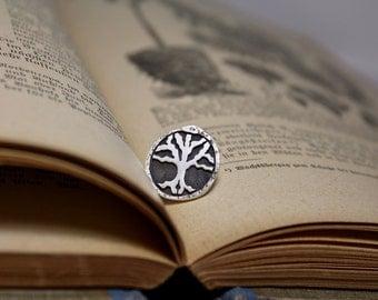 Yggdrasil Jörmungandr Ouroboros Pin Hand Cut Sterling Silver Lapel Pin Tie Tack