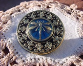 Czech Glass Dragonfly Medallion Button in Ebony Black and Capri Blue