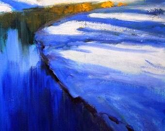 Northwest River Scene, Original Landscape, Oil Painting, 8x10 Canvas, Blue Gold, Shadows, Oregon, Deschutes River, Winter, semi abstract