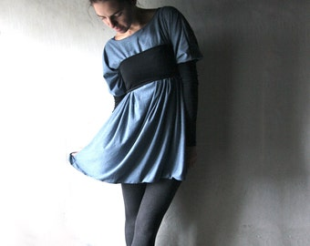 Tunic dress, Oversized Sweater dress, Long sleeve dress, Blue dress, Cotton dress, Women dress, Jersey dress, Maternity clothes, Plus size