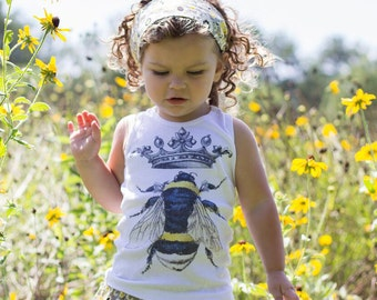 Queen Bee Shirt, Girls Top, Tank Top, Bumble Bee and Crown, Short Sleeve Shirt, Retro Graphic, size 3 months to 12 years