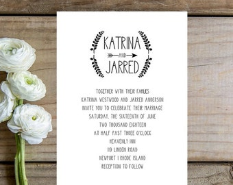 Rustic Wedding Invitation - Rustic Wedding Invitations, Boho Chic Wedding Invitation, Rustic Wedding, Boho Chic Wedding