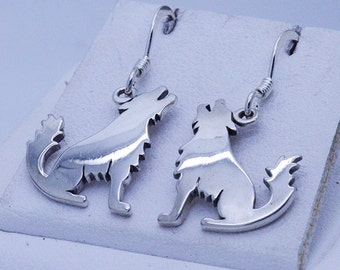 New sterling silver howling wolf Earrings thick solid dangling ~gift box