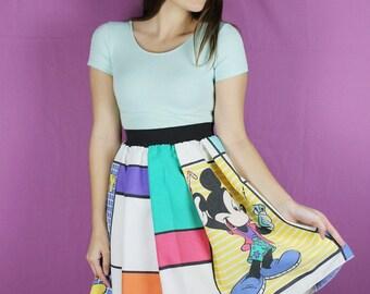 DISNEY Mickey Mouse Skirt, Vintage Disney Skirt, Handmade disney Adult Skirt, Diy Disney skirt, Handmade Mickey Mouse Skirt