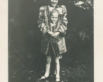vintage photo 1930s Two For One Little Girl Wrapped up Fur Coat of Teen Girl unusual