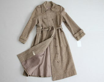 tweed wool coat | wool trench coat | 1970s coat