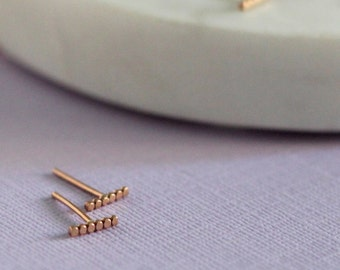 Scallop Bar Studs - Handmade Studs | Geometric jewellery | Simple studs | Mini studs | Tiny studs | rose gold, silver, gold | gold studs