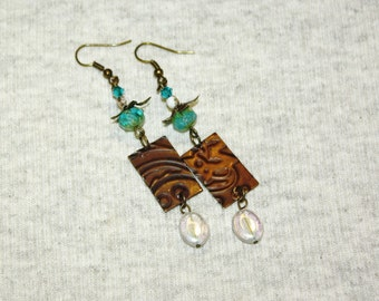 "TURQUOISE PAGODA  Boho Earrings Brass and Lampwork Bead 3"" Dangles Gypsy Girl Festival Bohemian Earrings"