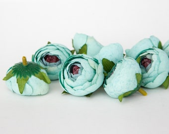 10 Small Vintage Inspired Ranunculus Buds in Mint Blue - silk artificial flower, millinery flower - ITEM 01013