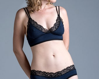 Organic Cotton Bra - Lingerie - Navy 'Buttercup' Style Bralette with Black Lace Trim - Custom Fit
