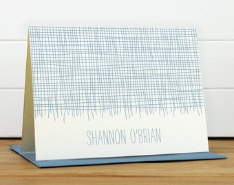 Custom Stationery / Custom Stationary - LINEN Custom Note Card Set - Modern Masculine