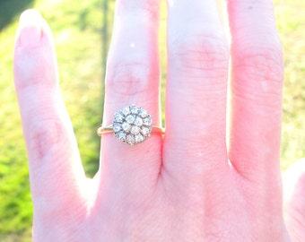 Super Fiery Retro Diamond Engagement Ring, Old European Cut Diamonds, Elegant Cluster Ring, 14K Gold, Whitehouse Bros.