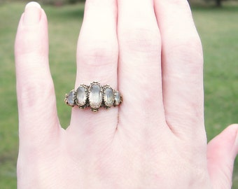 Antique Georgian Gold Ring, 5 Foil Backed Rock Crystal Quartz in 14K Gold, Beautiful Detail Work, Charming, Hard to Find