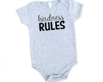 Kindness Rules Cotton short or long sleeve Onesie - Infant, Expecting, New Baby, Baby Shower, Be Kind, Brave, Positive Vibes